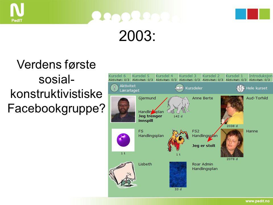 2003: Verdens første sosial- konstruktivistiske Facebookgruppe?