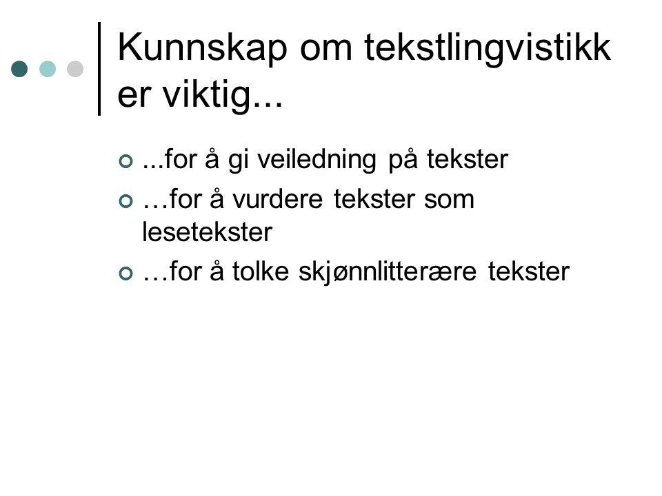 Hva er tekstlingvistikk.