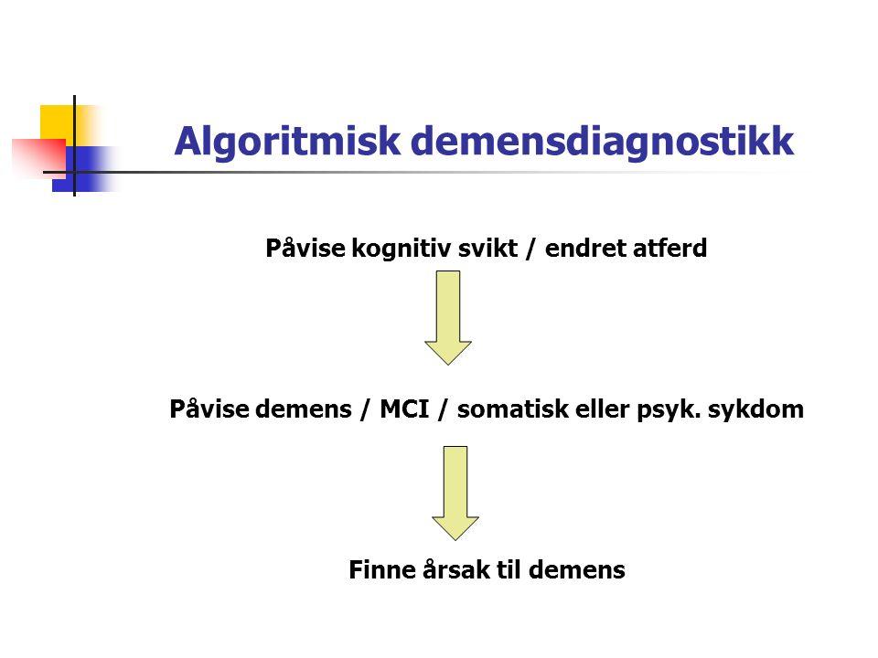Algoritmisk demensdiagnostikk Påvise kognitiv svikt / endret atferd Påvise demens / MCI / somatisk eller psyk.