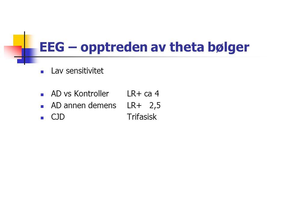 EEG – opptreden av theta bølger Lav sensitivitet AD vs KontrollerLR+ ca 4 AD annen demensLR+ 2,5 CJDTrifasisk