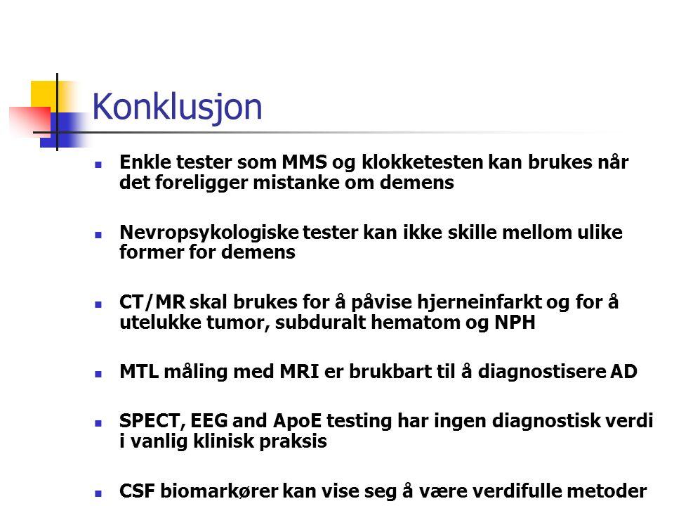 Konklusjon Enkle tester som MMS og klokketesten kan brukes når det foreligger mistanke om demens Nevropsykologiske tester kan ikke skille mellom ulike former for demens CT/MR skal brukes for å påvise hjerneinfarkt og for å utelukke tumor, subduralt hematom og NPH MTL måling med MRI er brukbart til å diagnostisere AD SPECT, EEG and ApoE testing har ingen diagnostisk verdi i vanlig klinisk praksis CSF biomarkører kan vise seg å være verdifulle metoder