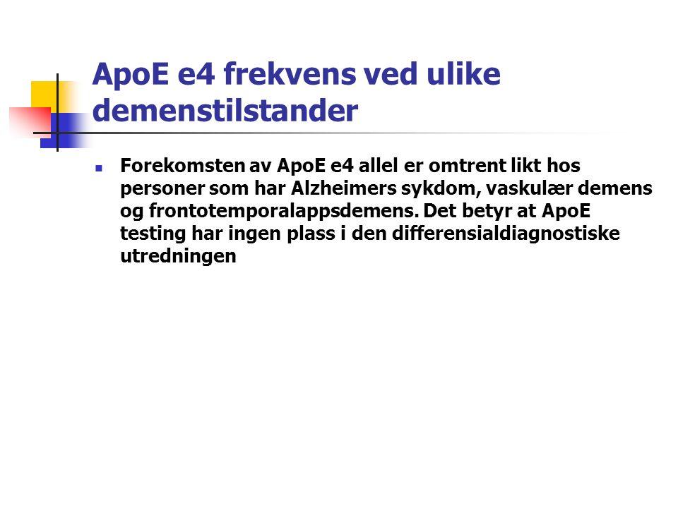 ApoE e4 frekvens ved ulike demenstilstander Forekomsten av ApoE e4 allel er omtrent likt hos personer som har Alzheimers sykdom, vaskulær demens og frontotemporalappsdemens.
