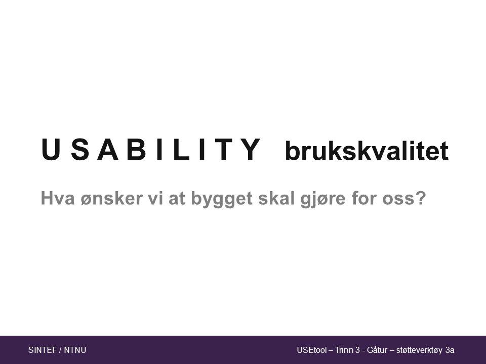 USEtool – Trinn 3 - Gåtur – støtteverktøy 3aSINTEF / NTNU U S A B I L I T Y brukskvalitet Hva ønsker vi at bygget skal gjøre for oss