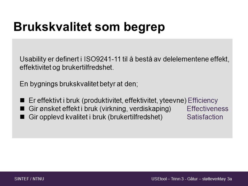 USEtool – Trinn 3 - Gåtur – støtteverktøy 3aSINTEF / NTNU Usability er definert i ISO9241-11 til å bestå av delelementene effekt, effektivitet og brukertilfredshet.