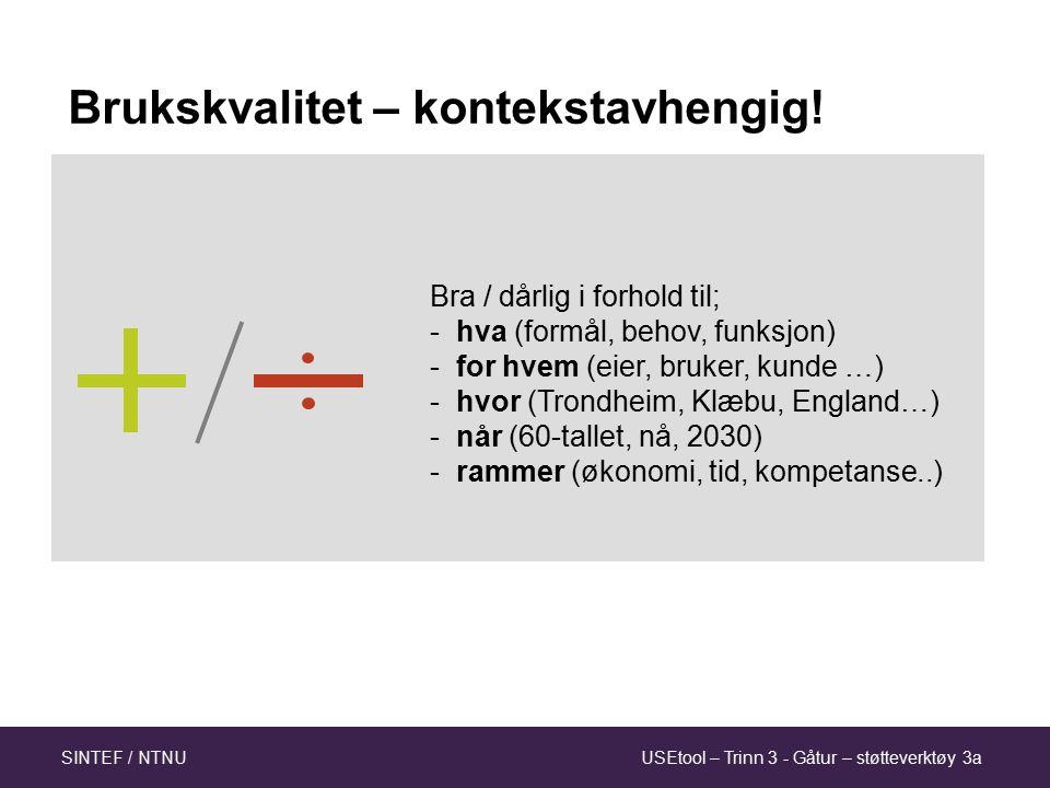 USEtool – Trinn 3 - Gåtur – støtteverktøy 3aSINTEF / NTNU 7 Hva skal kartleggingen brukes til.