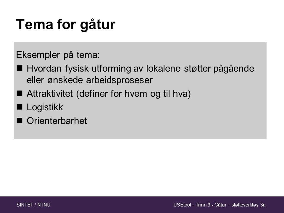 USEtool – Trinn 3 - Gåtur – støtteverktøy 3aSINTEF / NTNU Tema for gåtur Eksempler på tema: Hvordan fysisk utforming av lokalene støtter pågående eller ønskede arbeidsproseser Attraktivitet (definer for hvem og til hva) Logistikk Orienterbarhet