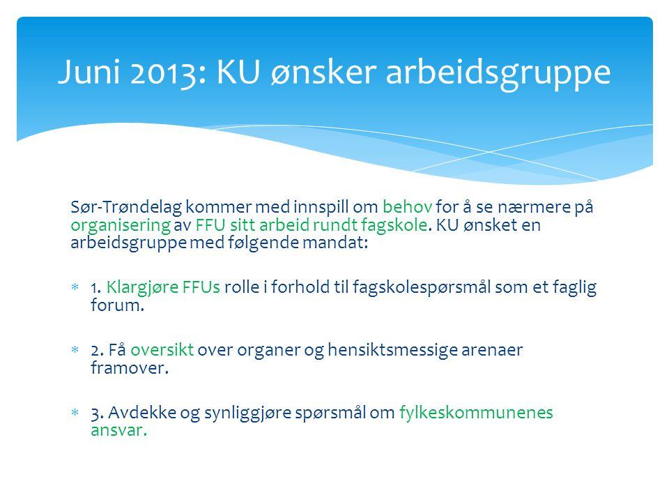 Sør-Trøndelag kommer med innspill om behov for å se nærmere på organisering av FFU sitt arbeid rundt fagskole.