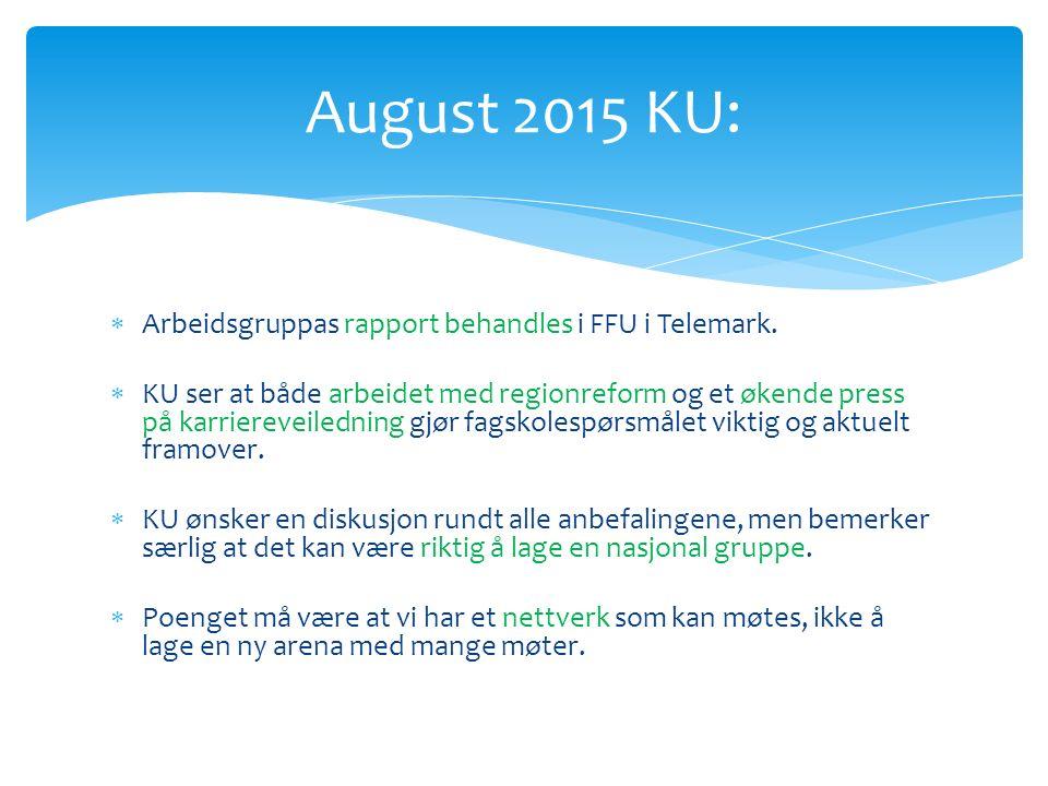  Arbeidsgruppas rapport behandles i FFU i Telemark.