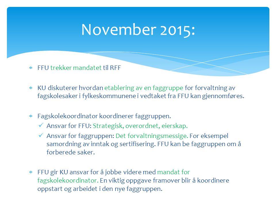  FFU trekker mandatet til RFF  KU diskuterer hvordan etablering av en faggruppe for forvaltning av fagskolesaker i fylkeskommunene i vedtaket fra FFU kan gjennomføres.
