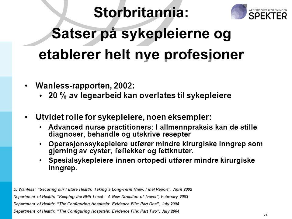 21 Storbritannia: Satser på sykepleierne og etablerer helt nye profesjoner Wanless-rapporten, 2002: 20 % av legearbeid kan overlates til sykepleiere Utvidet rolle for sykepleiere, noen eksempler: Advanced nurse practitioners: I allmennpraksis kan de stille diagnoser, behandle og utskrive resepter Operasjonssykepleiere utfører mindre kirurgiske inngrep som gjerning av cyster, føflekker og fettknuter.