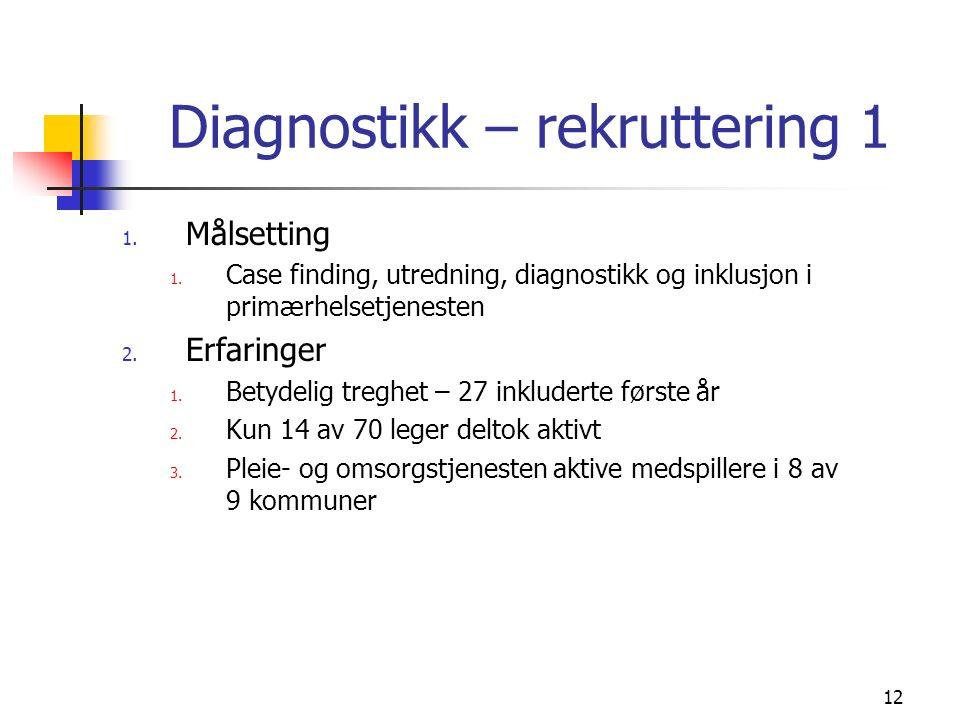 12 Diagnostikk – rekruttering 1 1. Målsetting 1.
