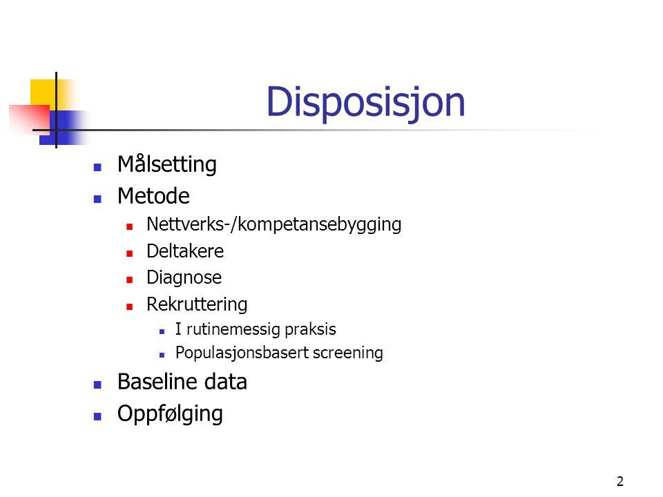 2 Disposisjon Målsetting Metode Nettverks-/kompetansebygging Deltakere Diagnose Rekruttering I rutinemessig praksis Populasjonsbasert screening Baseline data Oppfølging