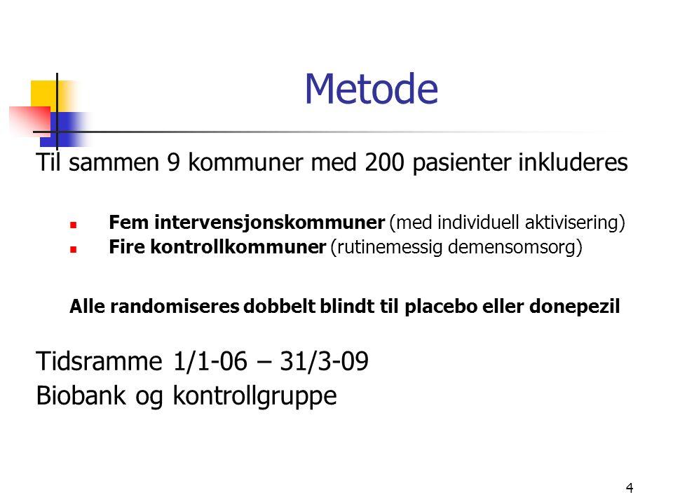 4 Metode Til sammen 9 kommuner med 200 pasienter inkluderes Fem intervensjonskommuner (med individuell aktivisering) Fire kontrollkommuner (rutinemessig demensomsorg) Alle randomiseres dobbelt blindt til placebo eller donepezil Tidsramme 1/1-06 – 31/3-09 Biobank og kontrollgruppe