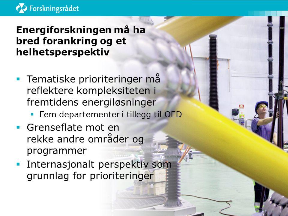 Energiforskningen må ha bred forankring og et helhetsperspektiv  Tematiske prioriteringer må reflektere kompleksiteten i fremtidens energiløsninger  Fem departementer i tillegg til OED  Grenseflate mot en rekke andre områder og programmer  Internasjonalt perspektiv som grunnlag for prioriteringer