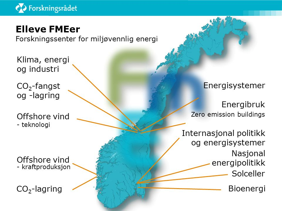 Elleve FMEer Forskningssenter for miljøvennlig energi CO 2 -lagring Energibruk Zero emission buildings Offshore vind - teknologi Offshore vind - kraft