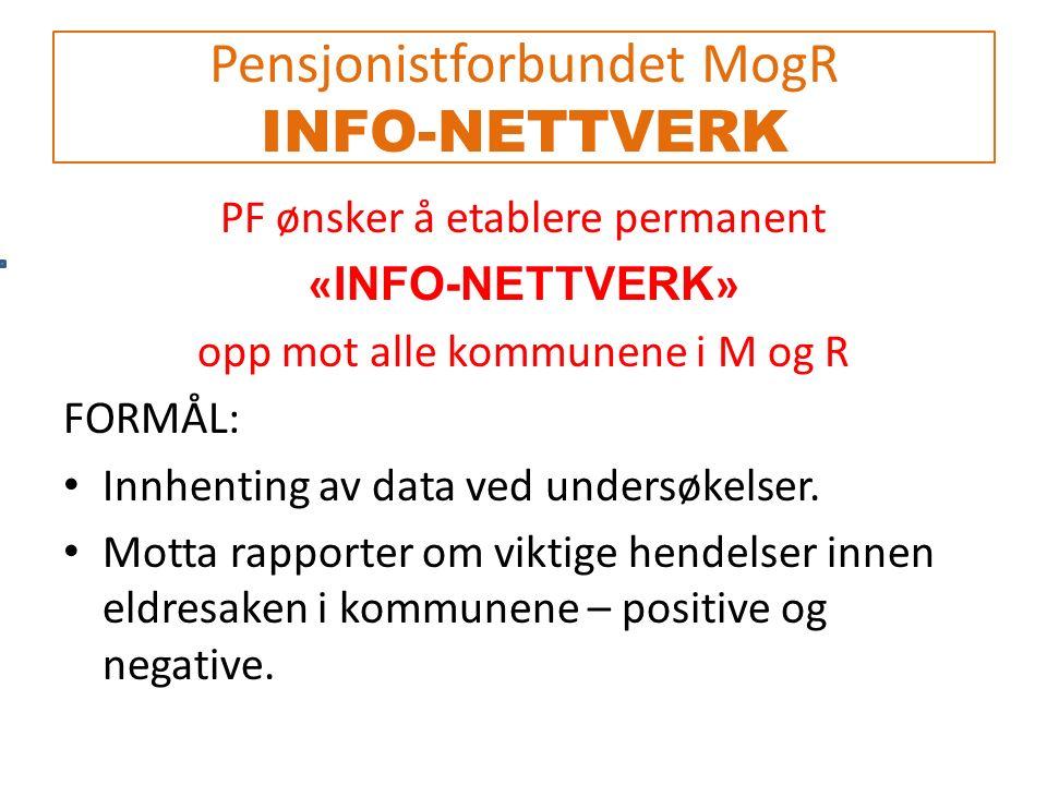 Pensjonistforbundet MogR INFO-NETTVERK PF ønsker å etablere permanent « INFO-NETTVERK » opp mot alle kommunene i M og R FORMÅL: Innhenting av data ved undersøkelser.