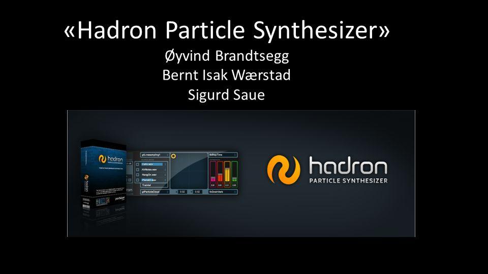 «Hadron Particle Synthesizer» Øyvind Brandtsegg Bernt Isak Wærstad Sigurd Saue
