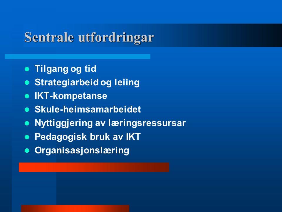 Sentrale utfordringar Tilgang og tid Strategiarbeid og leiing IKT-kompetanse Skule-heimsamarbeidet Nyttiggjering av læringsressursar Pedagogisk bruk av IKT Organisasjonslæring