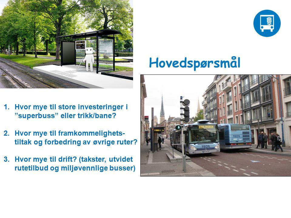 Hovedspørsmål 1.Hvor mye til store investeringer i superbuss eller trikk/bane.