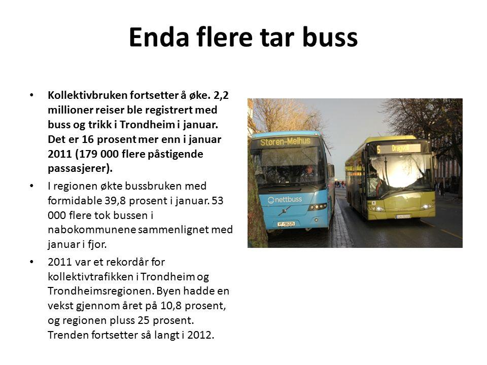 Enda flere tar buss Kollektivbruken fortsetter å øke.