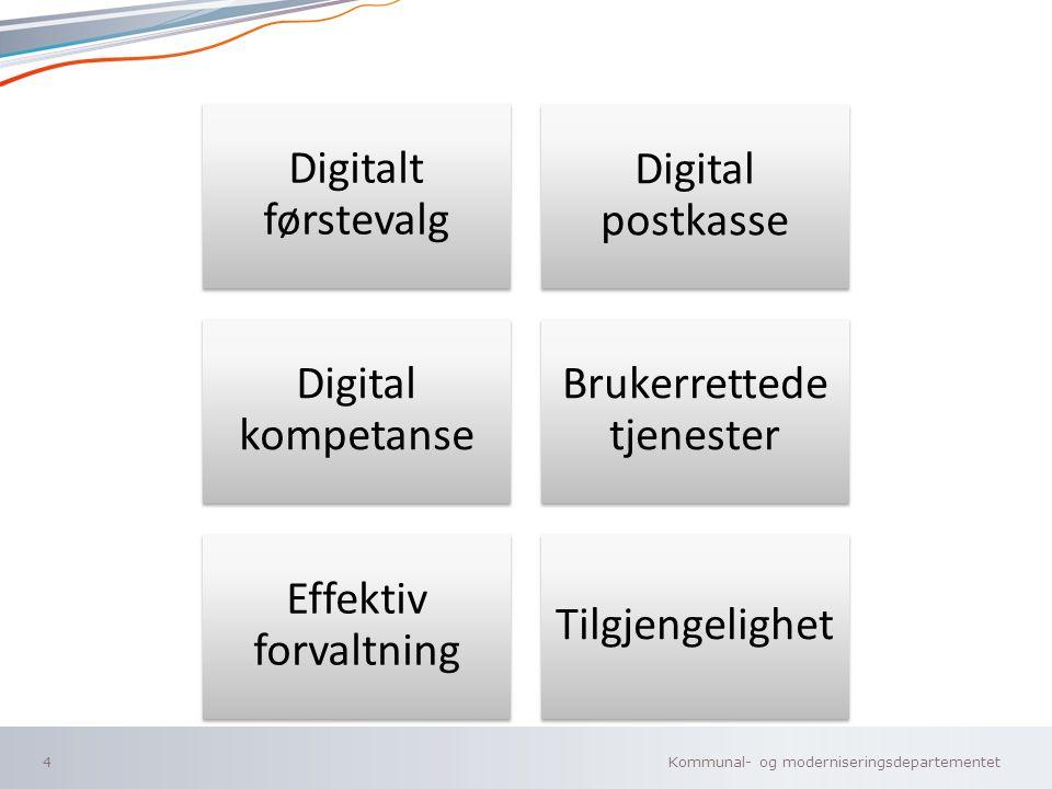 Kommunal- og moderniseringsdepartementet Norsk mal: To innholdsdeler - Sammenlikning Digitalt førstevalg Digital postkasse Digital kompetanse Brukerrettede tjenester Effektiv forvaltning Tilgjengelighet 4