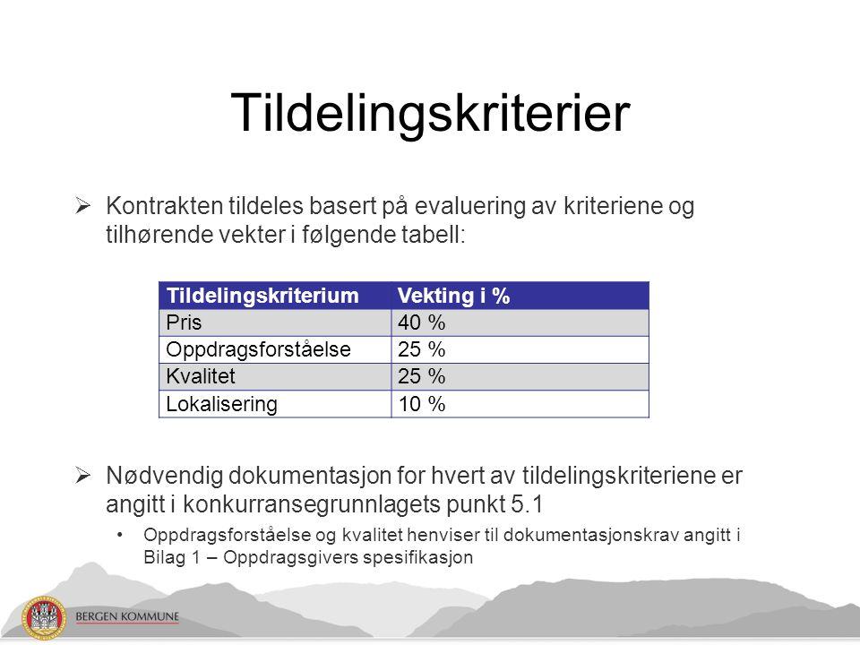 Tildelingskriterier  Kontrakten tildeles basert på evaluering av kriteriene og tilhørende vekter i følgende tabell:  Nødvendig dokumentasjon for hve