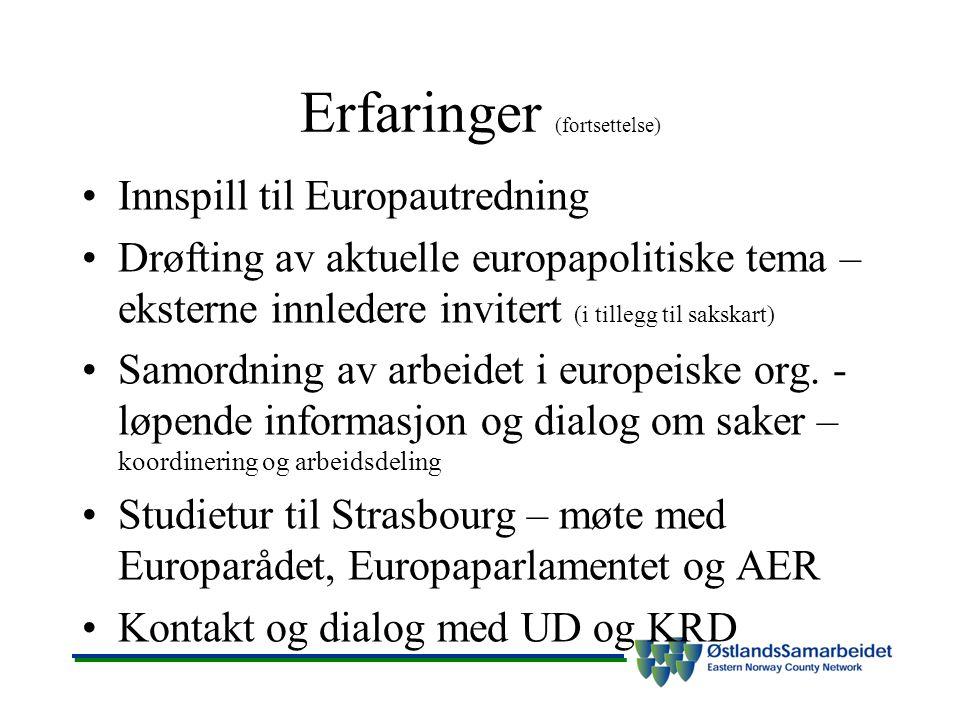 Erfaringer (fortsettelse) Innspill til Europautredning Drøfting av aktuelle europapolitiske tema – eksterne innledere invitert (i tillegg til sakskart) Samordning av arbeidet i europeiske org.