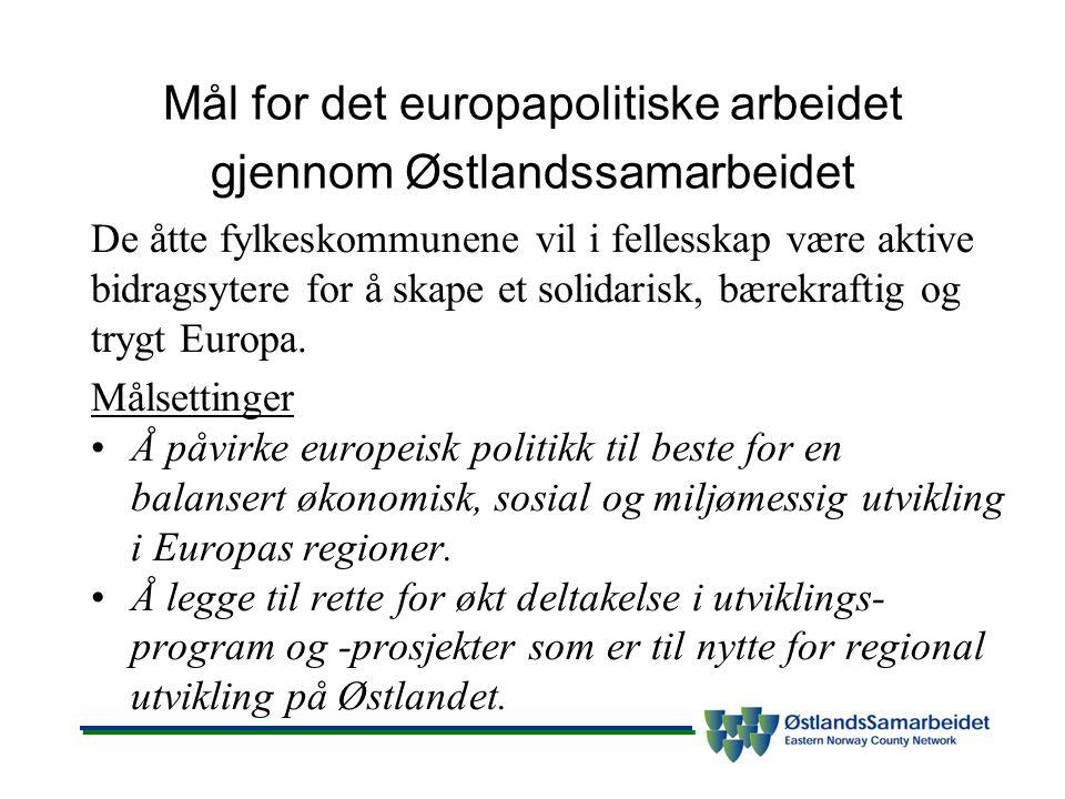 Mål for det europapolitiske arbeidet gjennom Østlandssamarbeidet De åtte fylkeskommunene vil i fellesskap være aktive bidragsytere for å skape et solidarisk, bærekraftig og trygt Europa.