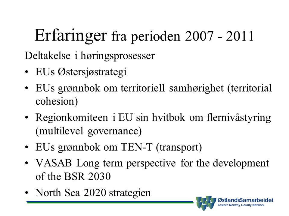 Erfaringer fra perioden 2007 - 2011 Deltakelse i høringsprosesser EUs Østersjøstrategi EUs grønnbok om territoriell samhørighet (territorial cohesion) Regionkomiteen i EU sin hvitbok om flernivåstyring (multilevel governance) EUs grønnbok om TEN-T (transport) VASAB Long term perspective for the development of the BSR 2030 North Sea 2020 strategien