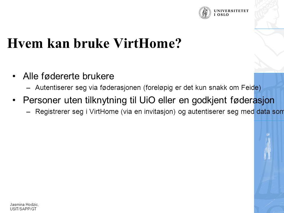 Jasmina Hodzic, USIT/SAPP/GT Hvem kan bruke VirtHome.