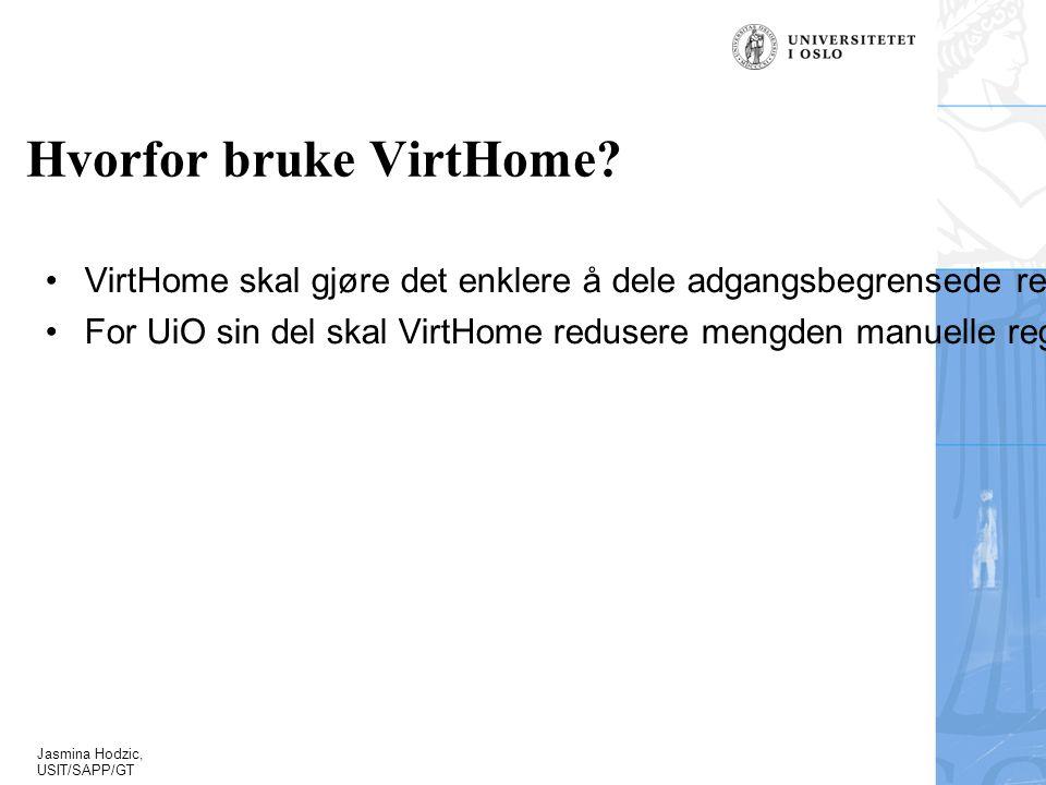 Jasmina Hodzic, USIT/SAPP/GT Hvorfor bruke VirtHome.