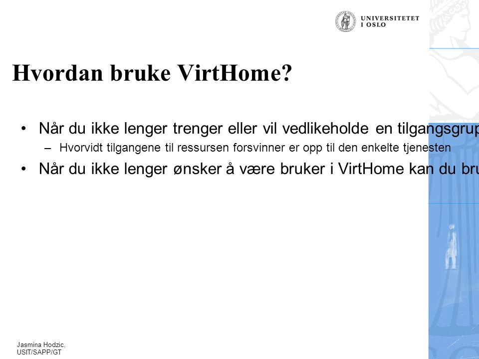 Jasmina Hodzic, USIT/SAPP/GT Hvordan bruke VirtHome.