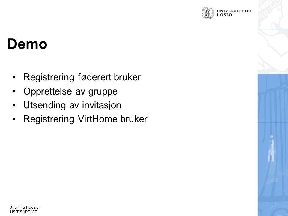 Jasmina Hodzic, USIT/SAPP/GT Demo Registrering føderert bruker Opprettelse av gruppe Utsending av invitasjon Registrering VirtHome bruker