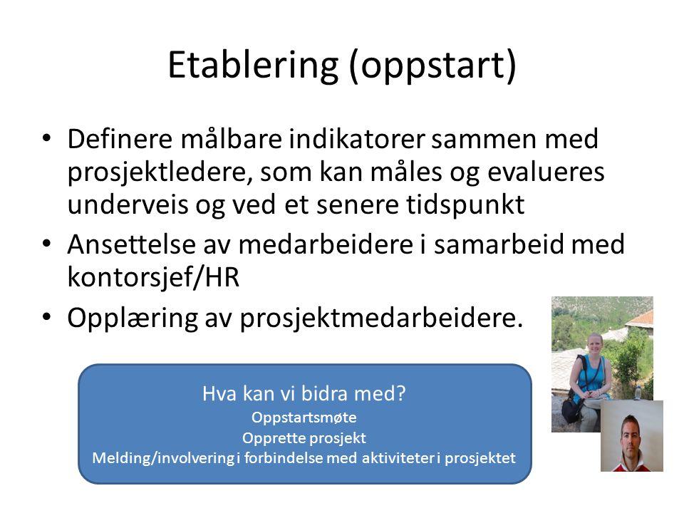 Etablering (oppstart) Definere målbare indikatorer sammen med prosjektledere, som kan måles og evalueres underveis og ved et senere tidspunkt Ansettelse av medarbeidere i samarbeid med kontorsjef/HR Opplæring av prosjektmedarbeidere.