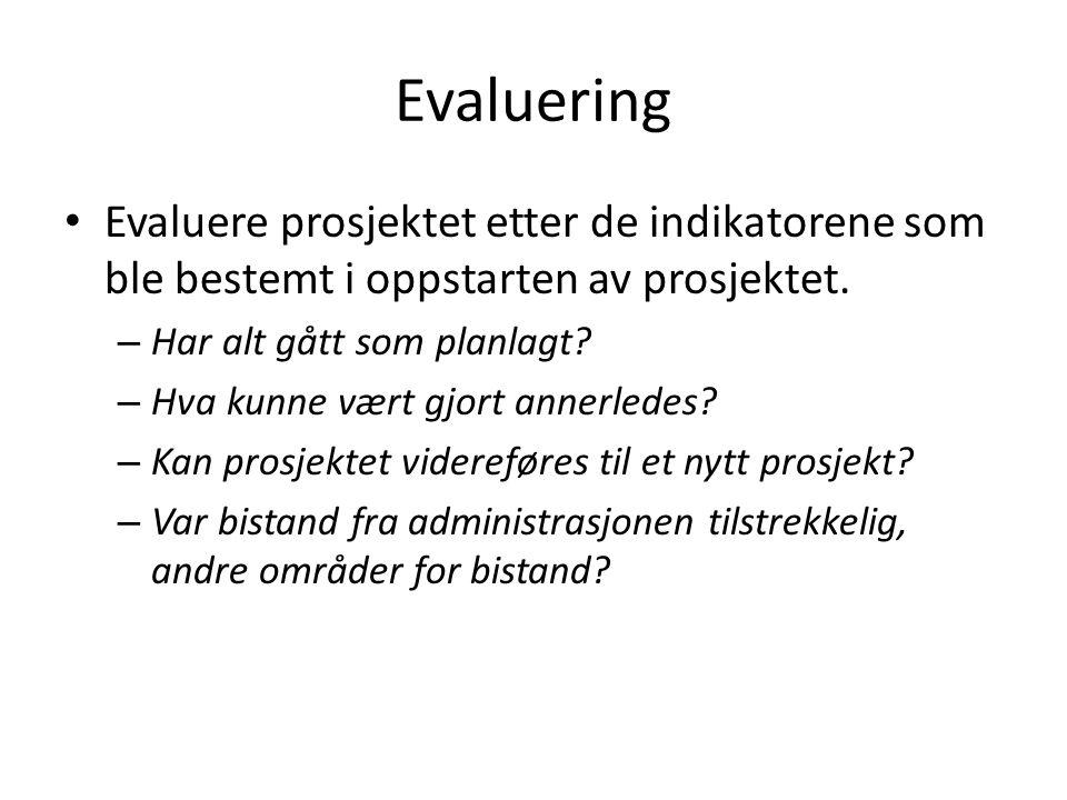 Evaluering Evaluere prosjektet etter de indikatorene som ble bestemt i oppstarten av prosjektet.