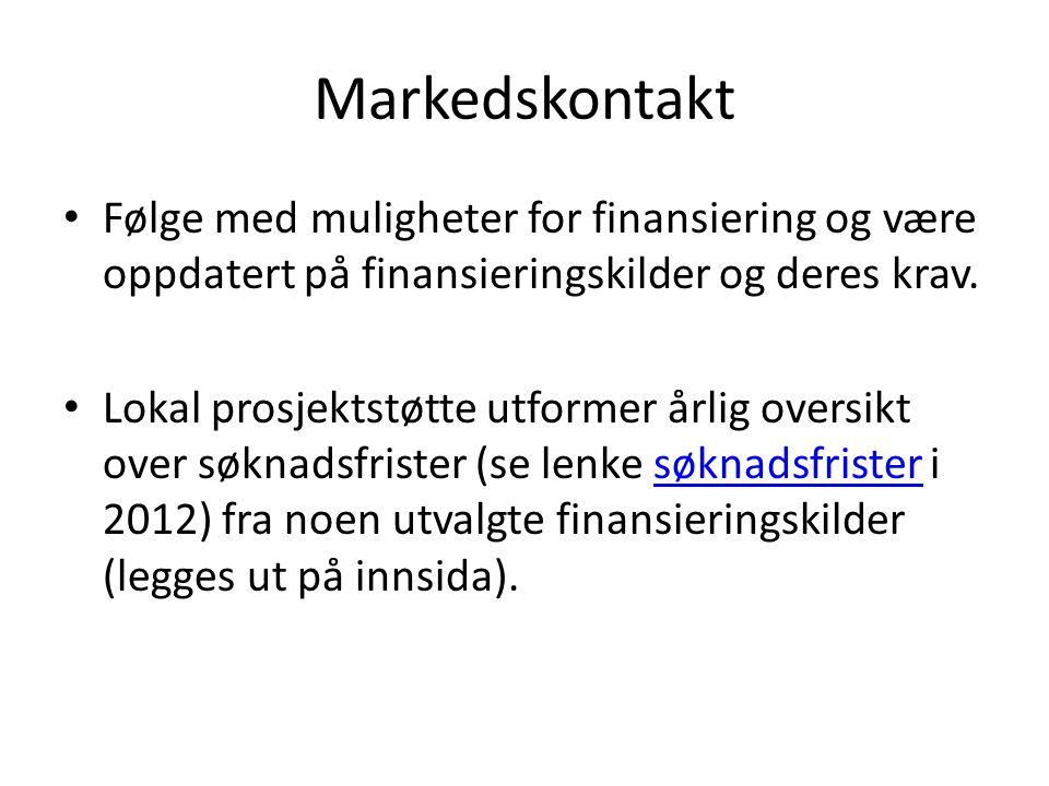 Markedskontakt Følge med muligheter for finansiering og være oppdatert på finansieringskilder og deres krav. Lokal prosjektstøtte utformer årlig overs