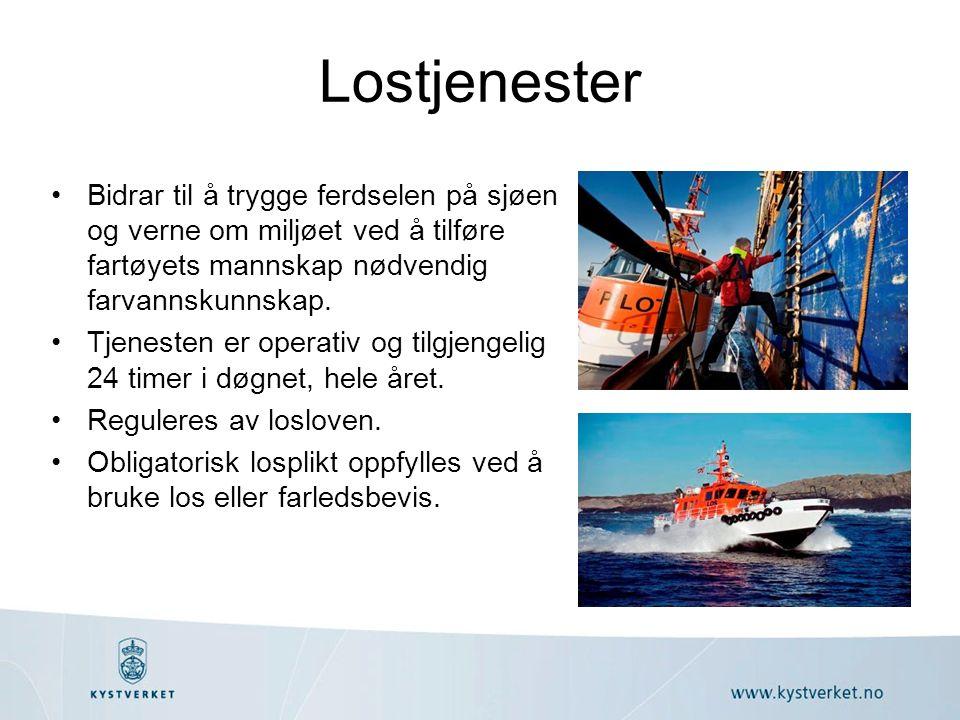 Lostjenester Bidrar til å trygge ferdselen på sjøen og verne om miljøet ved å tilføre fartøyets mannskap nødvendig farvannskunnskap.