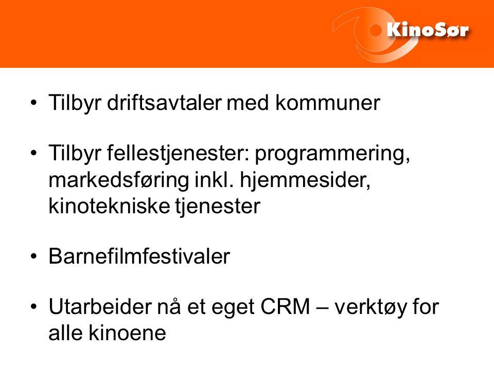 Tilbyr driftsavtaler med kommuner Tilbyr fellestjenester: programmering, markedsføring inkl.