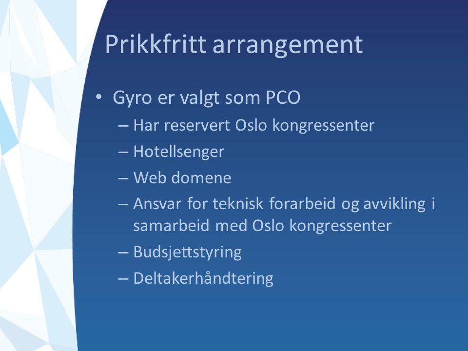 Prikkfritt arrangement Gyro er valgt som PCO – Har reservert Oslo kongressenter – Hotellsenger – Web domene – Ansvar for teknisk forarbeid og avvikling i samarbeid med Oslo kongressenter – Budsjettstyring – Deltakerhåndtering
