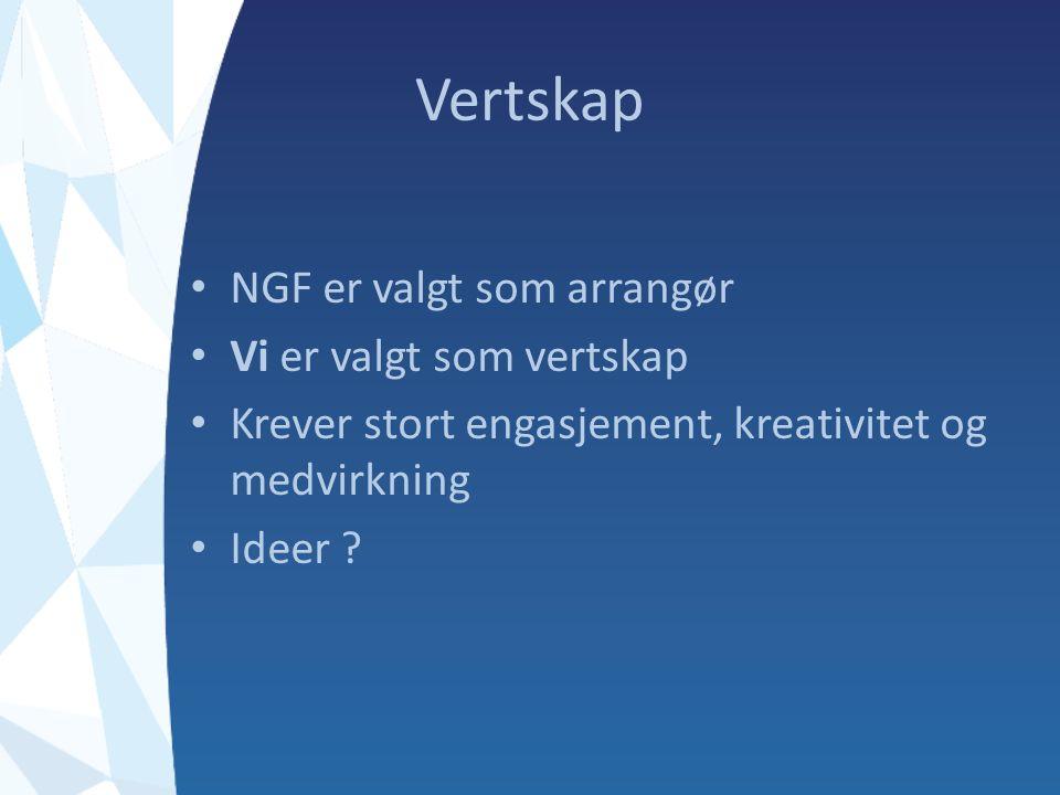Vertskap NGF er valgt som arrangør Vi er valgt som vertskap Krever stort engasjement, kreativitet og medvirkning Ideer