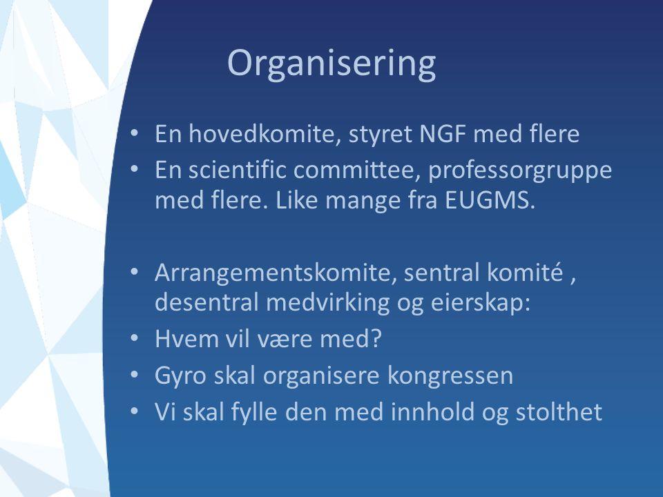 Organisering En hovedkomite, styret NGF med flere En scientific committee, professorgruppe med flere.