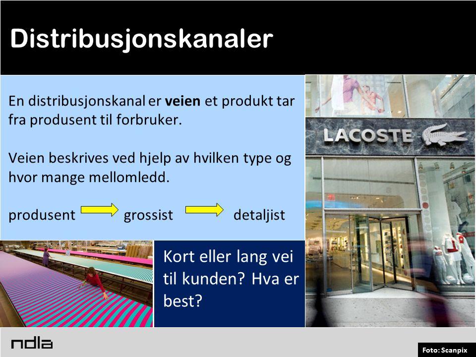Foto: Scanpix En distribusjonskanal er veien et produkt tar fra produsent til forbruker.