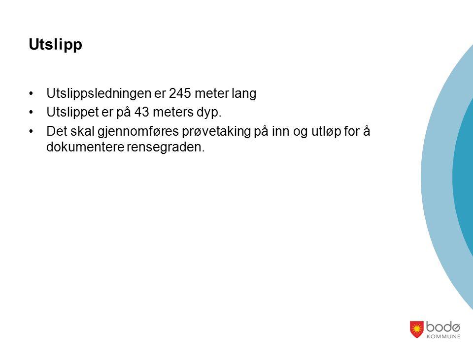 Utslipp Utslippsledningen er 245 meter lang Utslippet er på 43 meters dyp.