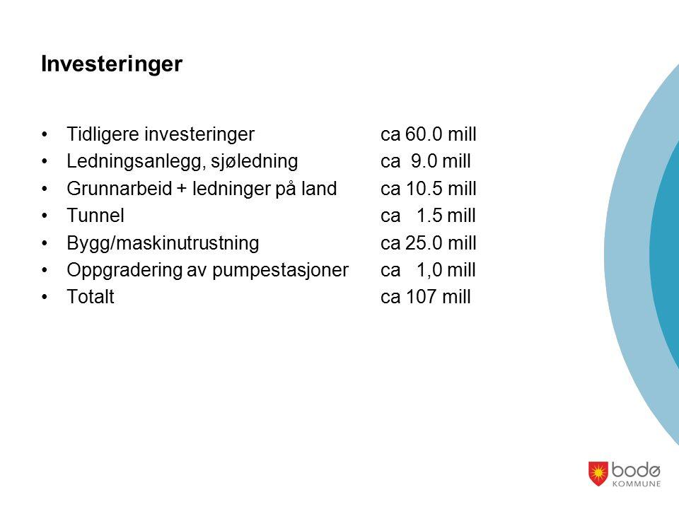 Investeringer Tidligere investeringer ca 60.0 mill Ledningsanlegg, sjøledningca 9.0 mill Grunnarbeid + ledninger på landca 10.5 mill Tunnelca 1.5 mill Bygg/maskinutrustningca 25.0 mill Oppgradering av pumpestasjoner ca 1,0 mill Totaltca 107 mill