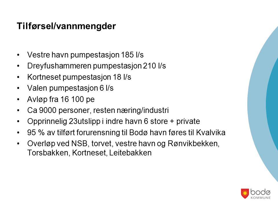 Tilførsel/vannmengder Vestre havn pumpestasjon 185 l/s Dreyfushammeren pumpestasjon 210 l/s Kortneset pumpestasjon 18 l/s Valen pumpestasjon 6 l/s Avløp fra 16 100 pe Ca 9000 personer, resten næring/industri Opprinnelig 23utslipp i indre havn 6 store + private 95 % av tilført forurensning til Bodø havn føres til Kvalvika Overløp ved NSB, torvet, vestre havn og Rønvikbekken, Torsbakken, Kortneset, Leitebakken