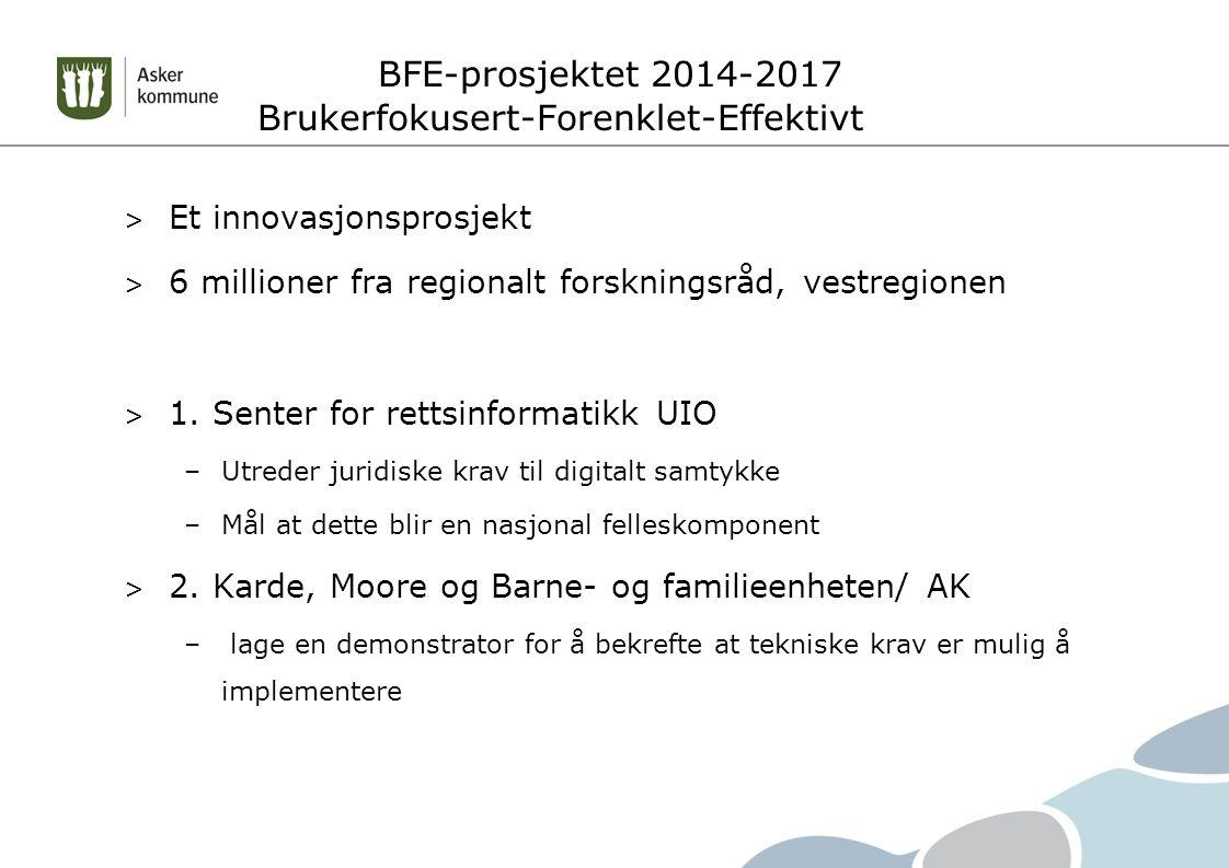 BFE-prosjektet 2014-2017 Brukerfokusert-Forenklet-Effektivt > Et innovasjonsprosjekt > 6 millioner fra regionalt forskningsråd, vestregionen > 1.