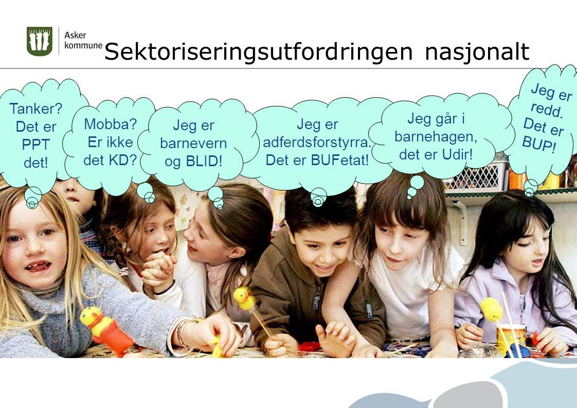 Våre erfaringer etter fem år: Hjelpetjenestene er mere synlige og tilgjengelige for familien, barnehagene og skolene 32 av 36 ledere i barnehager og skoler har TFS på topp 3 listen over ting de er mest fornøyd med i 2014 Tidlig fokus og tverrfaglig drøfting gir tidlig innsats og tiltak settes inn der hvor barn og unge tilbringer sin hverdag Flere bekymringsmeldinger til barneverntjenesten fra helsestasjonene og barnehagene Færre tilmeldinger til PP-tjenesten på individnivå, økt systemarbeid