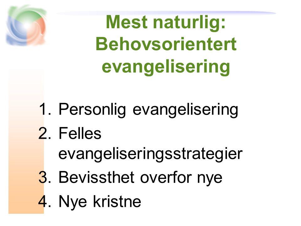 Mest naturlig: Behovsorientert evangelisering 1.Personlig evangelisering 2.Felles evangeliseringsstrategier 3.Bevissthet overfor nye 4.Nye kristne