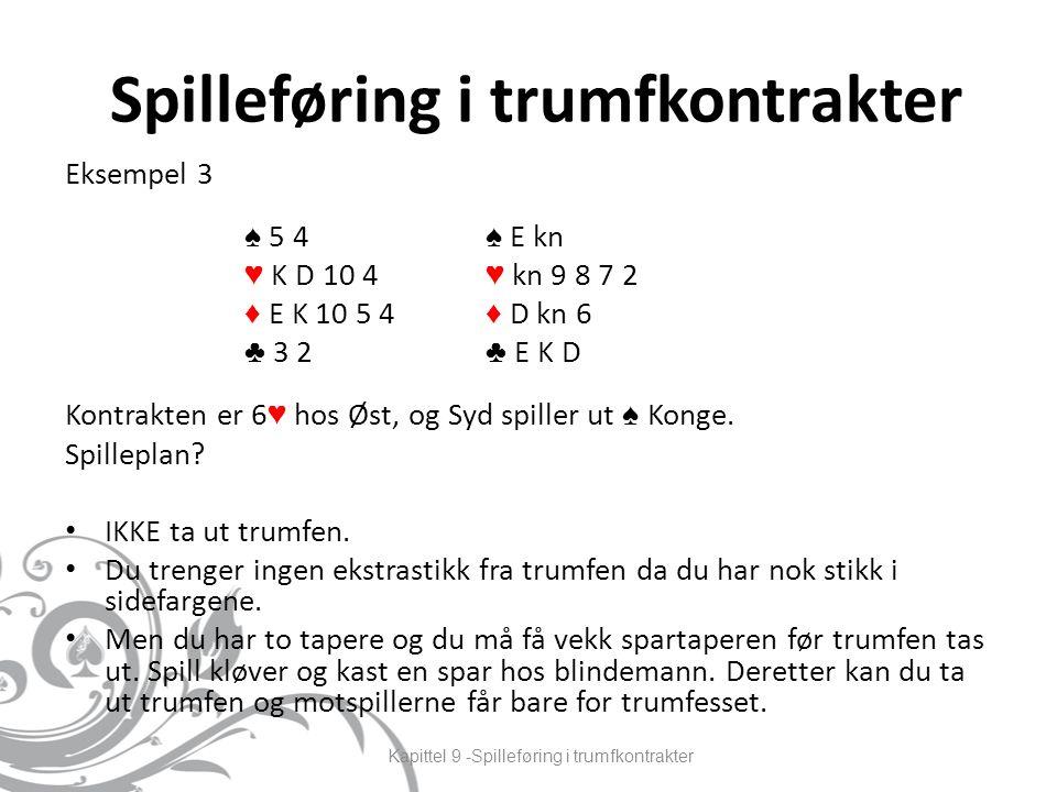 Spilleføring i trumfkontrakter Eksempel 3 Kontrakten er 6 ♥ hos Øst, og Syd spiller ut ♠ Konge.
