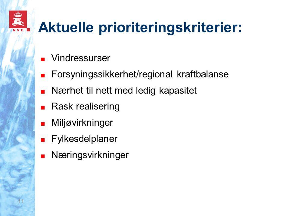 11 Aktuelle prioriteringskriterier: ■ Vindressurser ■ Forsyningssikkerhet/regional kraftbalanse ■ Nærhet til nett med ledig kapasitet ■ Rask realisering ■ Miljøvirkninger ■ Fylkesdelplaner ■ Næringsvirkninger